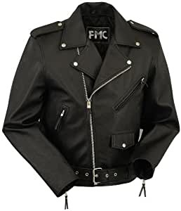 First Manufacturing Black Size 48 Men's Classic Motorcycle Jacket with Zip-Out Liner