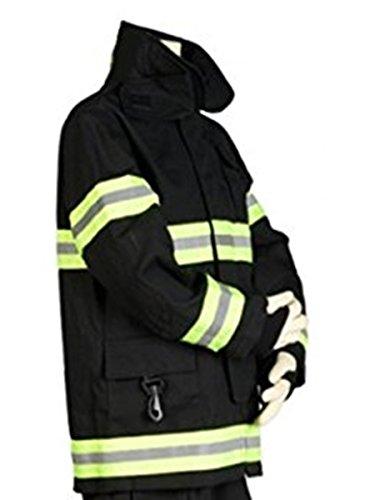 Fireman Jacket Costume (Kids Firefighter Black Suit Jacket Halloween Dress Up Costume (12-14))