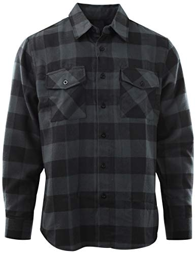 Mens Premium Button Down Flannel Long Sleeve Shirt (Many Patterns and Styles to Choose from) (S, A3-Charcoal)