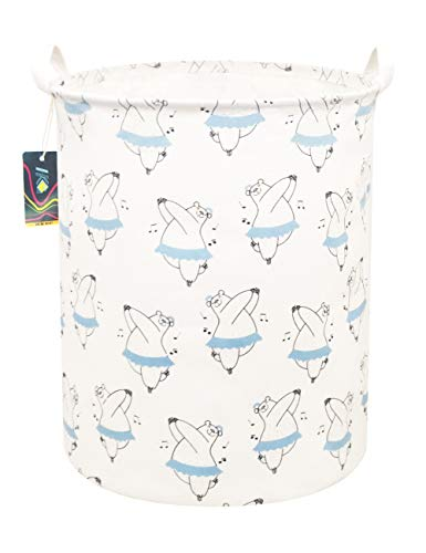 HKEC 19.7″Waterproof Foldable Storage Bin, Dirty Clothes Laundry Basket, Canvas Organizer Basket for Laundry Hamper, Toy Bins, Gift Baskets, Bedroom, Clothes, Baby Hamper (Dancing Bear)