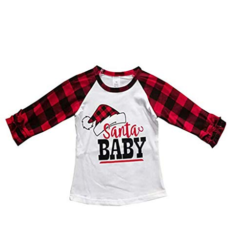 Toddler Baby Girls Blouse Christmas Thanksgiving Long Sleeve Printed Ruffles T-Shirt Tops Clothes Outfits (6-12 M, Red 4)]()