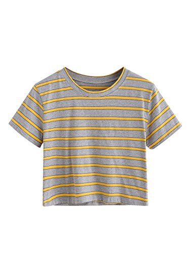 (SweatyRocks Women's Short Sleeve Striped Crop T-Shirt Casual Tee Tops (Small, Yellow))