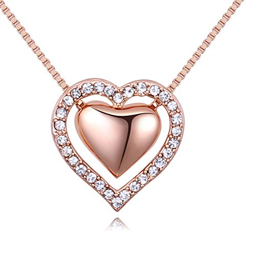 W.H. DuJour Double Love Heart Pendant Necklace Made with Austrian Crystals Jewelry Gifts for Girls Women (Rose-Gold-Tone Double Heart 3) - Crystal Gold Tone Heart