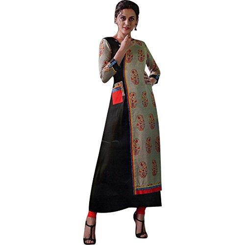 gner 3/4 Sleeves Tunic Top Rayon & Silk Kurti Kurta Indian Dress ()