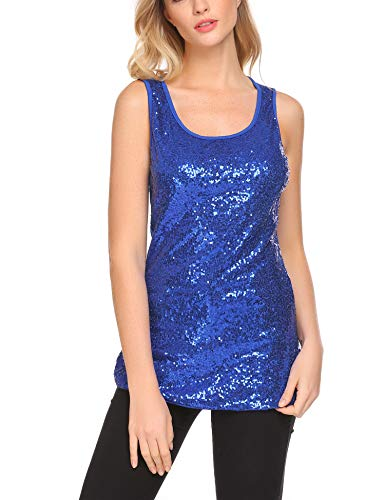 Zeagoo Women's Sleeveless Sparkle Shimmer Camisole Loose Sequined Vest Tank Tops,2-blue,Medium
