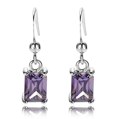 Rectangular Amethyst Ring - RIZILIA Dangle Drop Pierced Earrings with Rectangular Cut CZ [Simulated Purple Amethyst] in White Gold Plated, Simple Modern Elegant