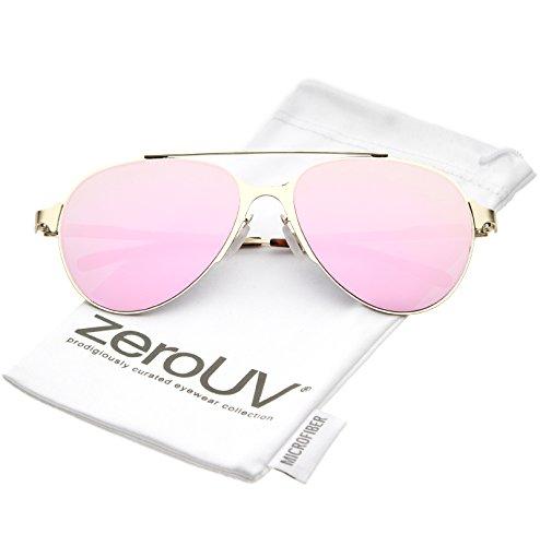 zeroUV - Ultra Sleek Straight Metal Crossbar Color Mirrored Flat Lens Aviator Sunglasses 56mm (Gold / Pink Mirror - Pink Victoria Sunglasses Beckham
