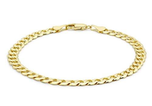 """Jewellery World Bague en or jaune 9carats 140PG Coupe Diamant Chaîne gourmette bracelet 19CM/7,5"""""""