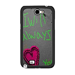 Cute Girlie Love Graphics Hipster Heart Design with Quotes Plastic Cover Case for Samsung Galaxy Note 2 N7100 Hard Cell Phone Skin (sand heart drawing)