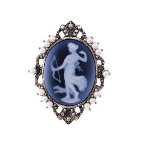Artemis Cameo Pin Pendant - 925 Sterling Silver Blue Agate Aphrodite Motif Cameo Pin (Agate Cameo Brooch)