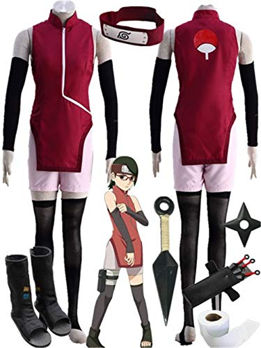 (YOUYI Boruto -Naruto The Movie- Uchiha Sarada Cosplay Costume Halloween Full Suit (Female)