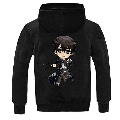 Meilaier Mens Sword Art Online SAO Thicken Fleece Zip-up Hoodie Coat Jacket (L, Black)