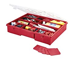 Stack-On SBR-18 17 Compartment Parts Storage Organizer Box with Removable Dividers, Red