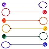 K-Roo Sports 6-pack Swinging Skip Balls, Rainbow Colors - Kids Jump Rope Athletic Exercise Toy for Playground, Gym Class, & Home by