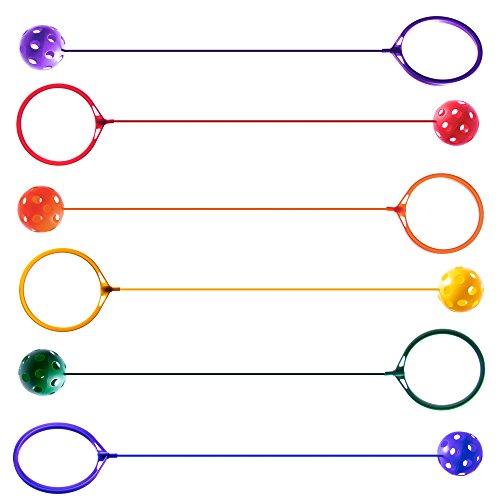 K-Roo Sports 6-pack Swinging Skip Balls, Rainbow Colors - Kids Jump Rope Athletic Exercise Toy for Playground, Gym Class, & Home by by K-Roo Sports