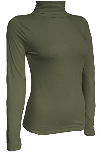 KMystic Women's Classic Long Sleeve Turtleneck Top (Medium, Olive)
