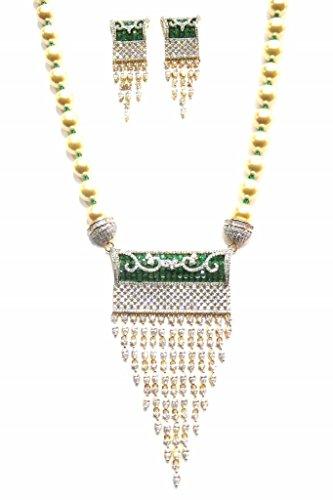 Jewelshingar Jewellery Cubic Zirconia Necklace Set For Girls ( 17423-nad-green ) by Jewelshingar
