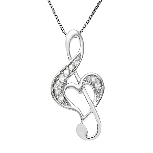 JewelExclusive Sterling Silver 1/10cttw Natural Round-Cut Diamond (J-K Color, I2-I3 Clarity) Music Note Heart Pendant-Necklace,18