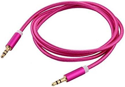 DealMux de Nylon Reproductor MP3 Inicio del Ordenador PC Smartphone Coche 3.5mm Macho a Macho estéreo Dorado Cable de Audio 3.3 pies de Largo Fucsia: Amazon.es: Electrónica