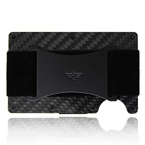 Slim Minimalist Carbon Fiber Wallet for Men/Credit Card Holder with Cash Strap