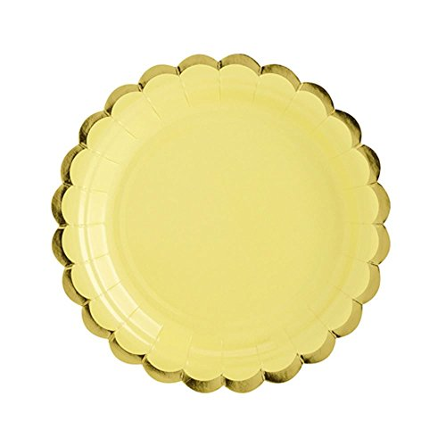 (Luck Paper Party Plates YELLOW with Gold Scalloped Edge 18cm x)