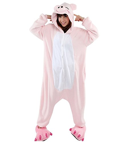 Nicetage Unisex Adult Pajama Onesies Fleece One Piece Halloween Costumes Pink Pig M -
