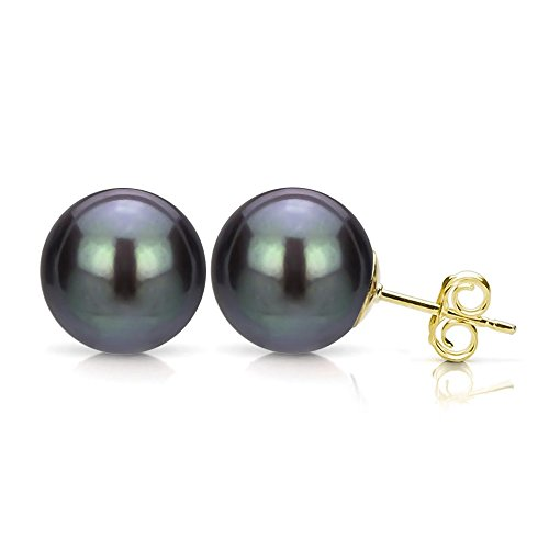 Cultured Freshwater Black Pearl Earrings 14K Yellow Gold Studs Bridesmaid Jewelry 6-6.5mm ()