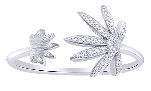 Round Cut White Diamond Marijuana Leaf Adjustable Toe Ring In 14K White Gold Over Sterling Silver (0.1 Cttw), Ring Size: - Marijuana Gold