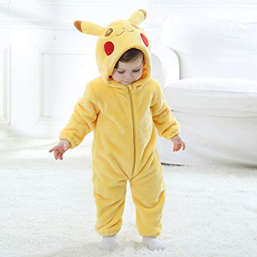 a6ab306ed Unisex Baby Flannel Romper Animal Onesie Costume Hooded Cartoon Outfit Suit  (Pikachu, 80)