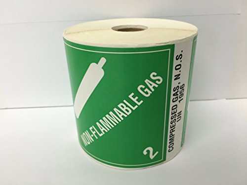 4x4-3/4 Green NON-FLAMMABLE GAS / COMPRESSED GAS, N.O.S. UN 1956 Hazmat Identifiers Hazard Materials Class Regulatory D.O.T. Stickers 500 labels per roll by Labels and More