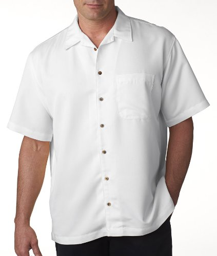 UltraClub Men's Cabana Breeze Camp Shirt - White 8980 2XL