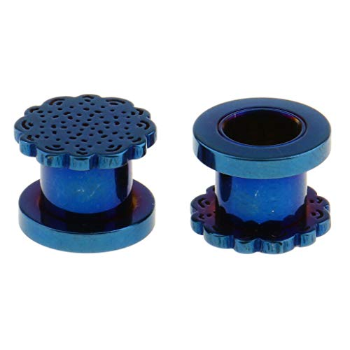 1 Pair Ear Plugs Stretcher Expander Tunnels Ear Gauges Piercing Jewelry 3-12mm (Color - Blue 8mm)