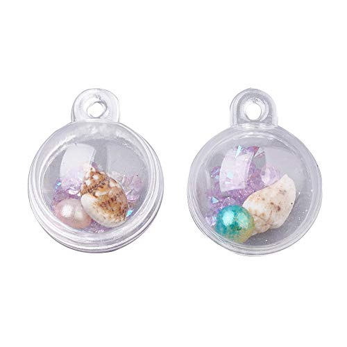 PH PandaHall 100pcs 20mm Lilac Plastic Globe Bottle with ABS Plastic Imitation Pearl, Resin Rhinestones and Shell Beads Transparent Ball Gifts for Wedding Party Decor