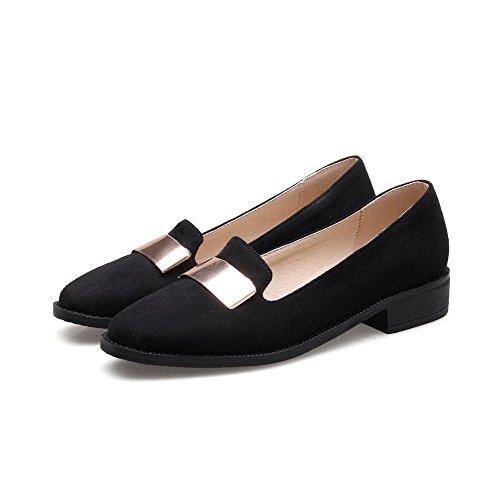 VogueZone009 Damen Rein Mattglasbirne Niedriger Absatz Ziehen auf Quadratisch Zehe Pumps Schuhe Schwarz