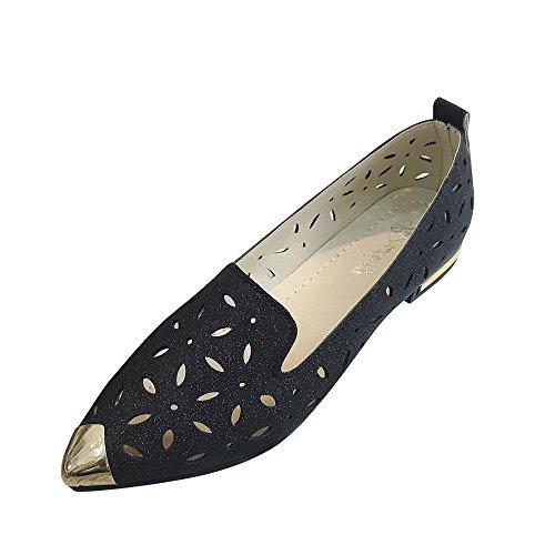 QBQCBB Women Solid Paillette Pointed Toe Hollow Out Low Heel Sandals Single Shoes Black(Black,40)