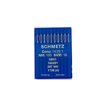 La Canilla ® - 10 Agujas para Máquina de Coser Industrial Schmetz DBx1 1738(A) 16x231 Grosor 100/16 Pistón Redondo: Amazon.es: Hogar