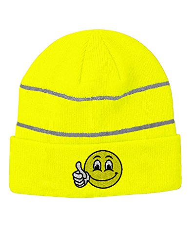 Face Cap Happy (Emoji Smiley Happy Face Embroidered Unisex Adult Acrylic Reflective Stripes Beanie Winter Hat - Neon Yellow, One Size)