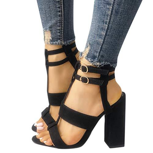 Veodhekai Women High Heel Platform Sandals Buckle Round Toe Chunky Shoes Peep Toe Wedding Party Shoes Black