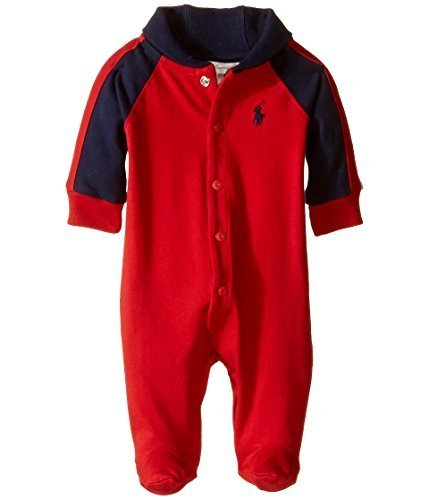 - Ralph Lauren Baby Boys Cotton Shawl-Collar Coverall (nb, RL Red)