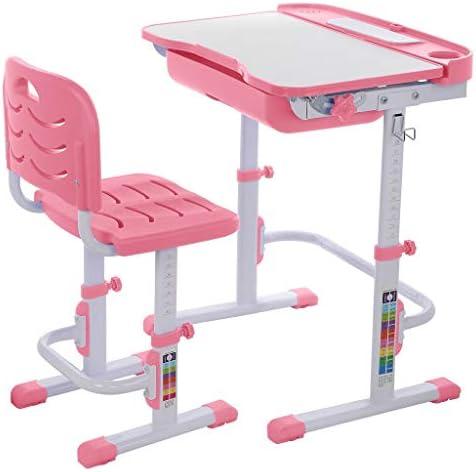 子供の机と椅子のセット、高さ調節可能な子供の勉強描画テーブルセット、傾斜引き出しロッカーと、引き出しタイプの反射防止子供の学習テーブル (Color : Pink)