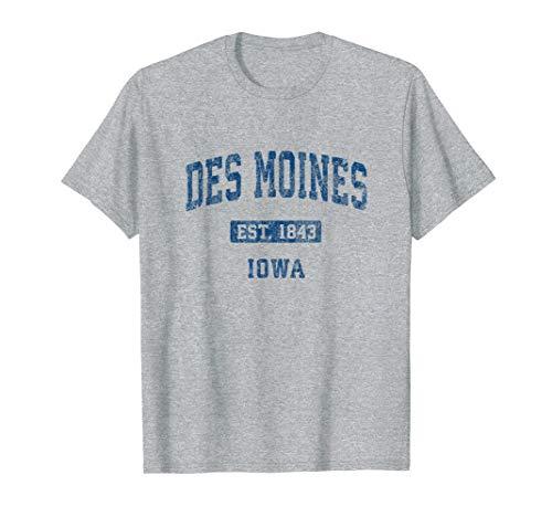 Des Moines Iowa IA Vintage Athletic Sports Design T-Shirt (Des Moines Ia 50395 Usps Sort Facility)