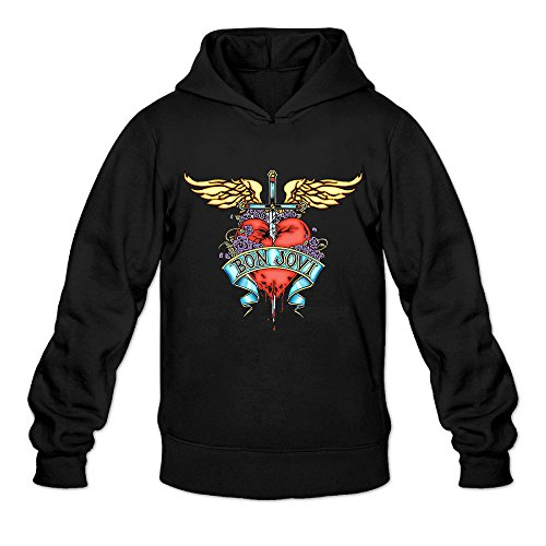 Custom Superman Costumes (AK79 Men's Hoodies Bon Heart Logo Jovi Size L Black)