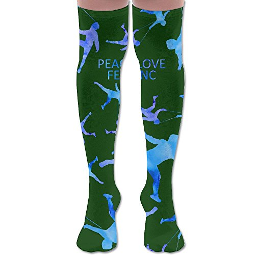 Peace Love Fencing Sport Women Comfort High Thigh Socks Stockings