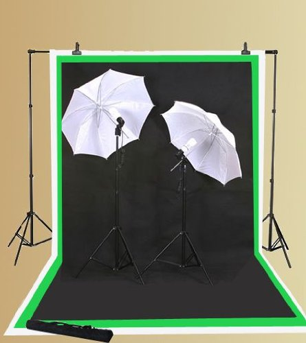 ePhoto 3 Muslin + Background Support Kit + Lighting Set + Case/ 10x12 Chroma Key Green, Black, White Backdrop by ePhoto INC 1012BWGULS69