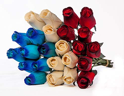Shop Zoombie 24 Realistic Wooden Roses Flowers - Red, Ivory, Blue - Patriotic