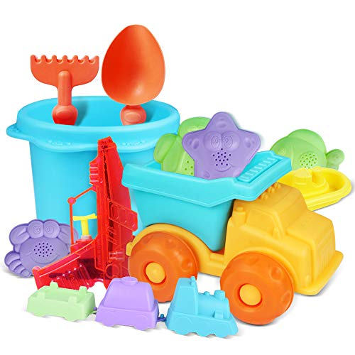 Beach Toys Set, Sand Toys for Toddlers Durable and Soft Safety Plastic Sandbox Toys Sand Castle Building Kit for Kids and Toddlers Baby Beach Toys Water Gun Included