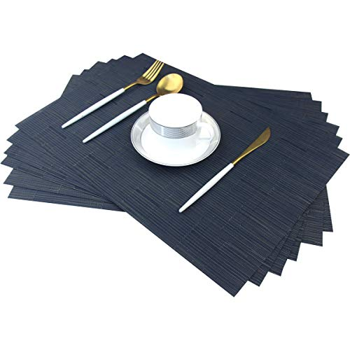 Bright Dream Placemats for Dining Table Woven Vinyl Wipe Off Plastic Placemats Stain Resistant Table Mats Set of 6 (Bamboo Navy)