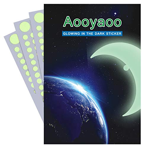 aooyaoo 721pcs 3D Glow Star Ceiling Glow in Dark dots Stars & Moon Glow in Dark Dots Wall Stickers for Starry Sky,Kids Bedding Room Ceiling of Starry Home Decor
