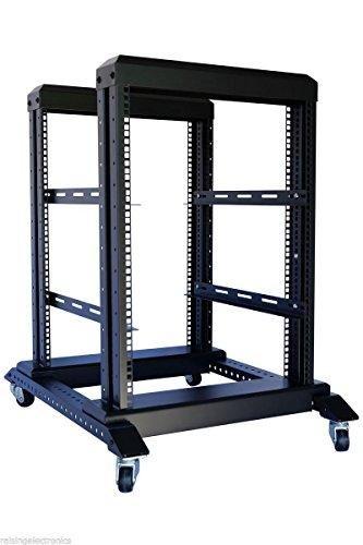 15U 4 Post Open Frame 19'' Server/Audio Steel Rack 16'' Deep - 19' Caster Base