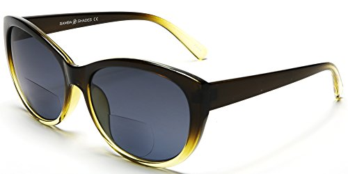 Women's Bi-Focal SunReaders Fashion Wayfarer Sunglasses Olive Yellow Rx - Wayfarer Fashion